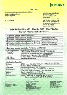 DEKRA certifikát
