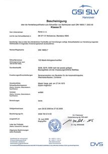 GSI SLV certifikát